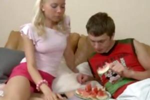 juvenile blonde fucks her boyfriend in ottoman
