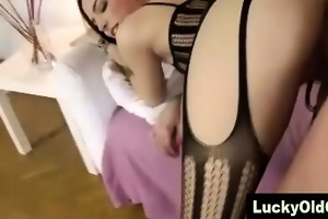hot slut in stockings bonks aged british boy