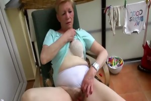 old granny masturbating with young angel and her