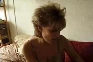 biggest tit milf sucks pecker and fist herself.