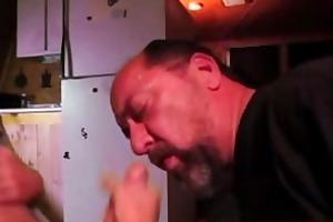 big uncut cock twink, gives baddad a facial