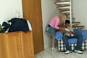 blonde granny jumps on biggest fellow meat