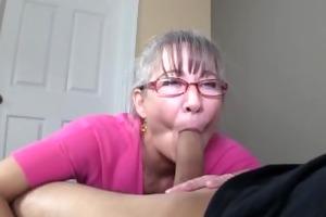 slim greyhaired granny sucks my cock