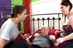hotties straps down grandpa to bed