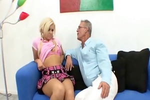 young hawt blond schoolgirl fucked by old man