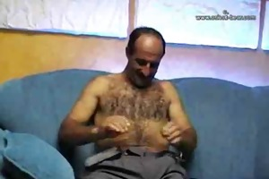 hot curly turkish daddy jacks off solo