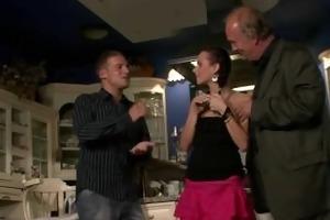 tight brunette wife cuckolds her older husband