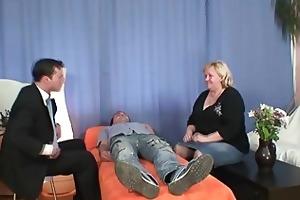 blonde granny gets slammed by two dicks