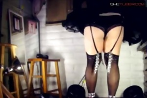 teasing dad by dancing in sheer black lewd outfit