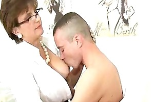 he indeed likes this old womans wonderful big tits