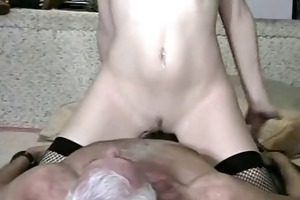 old and young (he licks his own cum off her)