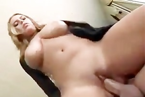 busty housewife takes a big member