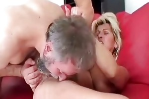 horny granny riding her lovers happy old jock