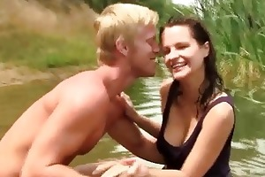 young breasty rita suck and ride cock outdoors