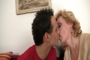 juvenile lad picks up mature blonde for play