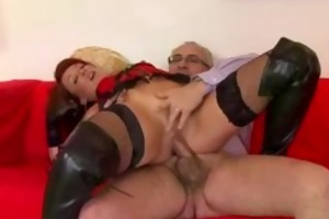 redhead in leather boots drilled by old guy