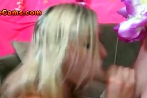 sexy blonde wench sucking large cock