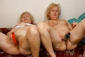 old grannies masturbate jointly on the ottoman