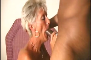 old mom gets blasted on her wrinkly face