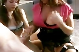 mum teaches daughter how to tug cock