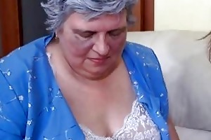 old breasty granny playing with skinny gal