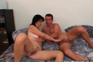 mamma with big titties receives cum glazed