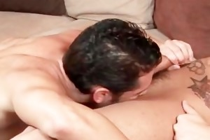 sexy tattooed gay stud gets cock sucked part2