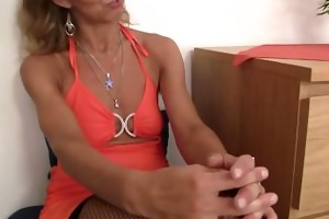 old lady in fishnets swallows dongs