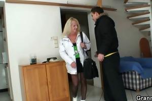 he is screws blonde grandma in black stockings