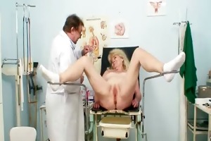 blonde grandma kinky pussy exam with enema
