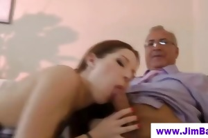 old man copulates honey in red nylons