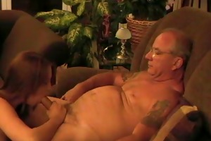 brunette slut sunshine day engulf old cock