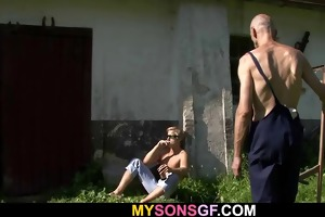 old daddy toying his sons gf slit