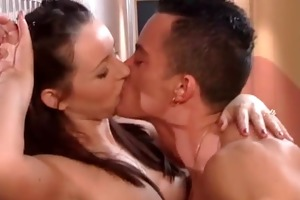 sexy brunette hair milf getting that is wet