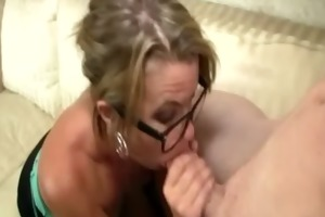 nerdy mature blonde loves to smack cocks