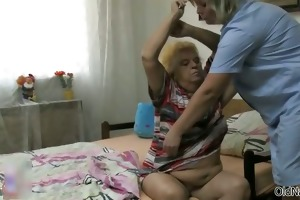 lewd old woman goes crazy getting her part6