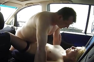 beautiful young blond bitch picked up to car