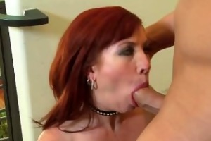 breasty redhead milf in fishnet nylons drilled
