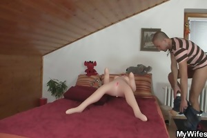 mother-in-law helps him cum