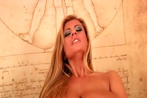 large titted soccer mamma is toying her shaved