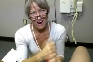 large titted gilf giving a admirable pecker rub
