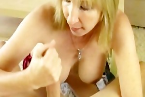 blonde mom sucks off her godsons large boner