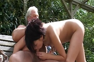 old gray senior is banging a hot juvenile chick