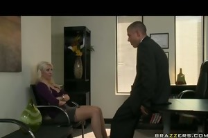 big tit blond milf wife in stockings fuck boss