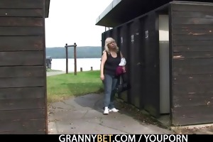 granny receives nailed in the changing room