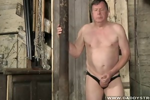 stocky dad jerking his dick