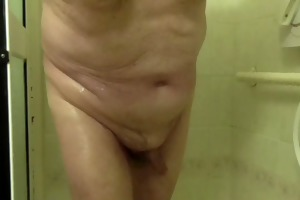 old guy has shower and cums
