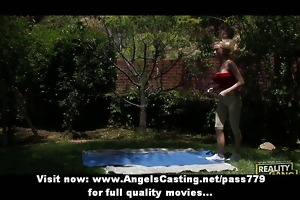 youthful blonde exercising and undressing and