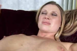 blonde with big tits rides a hard cock