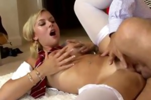 blonde girl getting team-fucked by old man